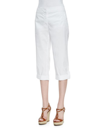 Cuffed Twill Capri Pants, White, Women's