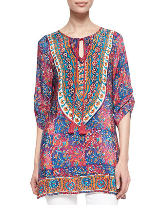 Madison Silk Ruched-Sleeve Tunic