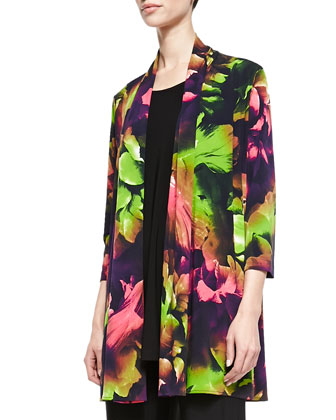 Tropical Flower Printed Cardigan, Long Knit Tunic/Tank & Stretch-Knit Slim ...