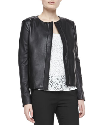 Raoul Crossover Leather Jacket, Isaac Lace Sleeveless Tank Top & Bedina ...