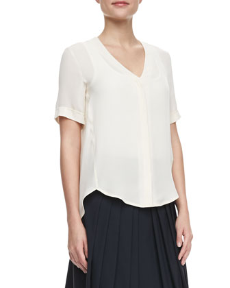 Napala Short-Sleeve Silk Blouse & Haidin Pleated A-Line Skirt