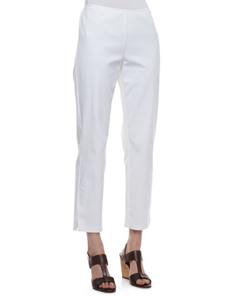 Handkerchief Linen Boxy Shirt & Organic Stretch Twill Slim Ankle Pants, ...