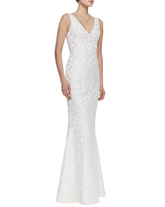 Elise Diamond Print-Brocade Gown