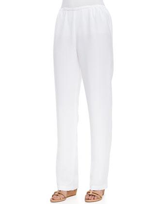 Shantung Button-Front Tab Shirt & Shantung Straight-Leg Pants, Petite