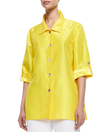 Shantung Button-Front Tab Shirt, Petite