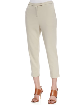 3/4-Sleeve Asymmetric Tunic & Ponte Knit Capri Pants, Women's