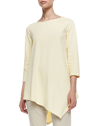 3/4-Sleeve Asymmetric Tunic & Ponte Knit Capri Pants, Petite