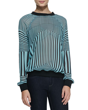 Intersection Striped Georgette Sweatshirt