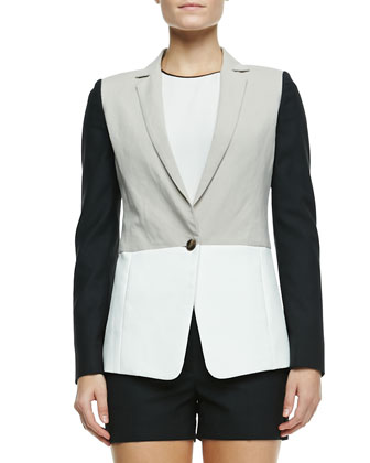 Colorblock Linen-Blend Blazer, Contrast-Trim Silk Blouse, Tailored City ...
