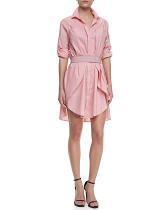 Long-Sleeve Voile Shirtdress