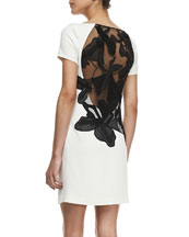 Crepe Cap-Sleeve Floral Inset Sheath Dress