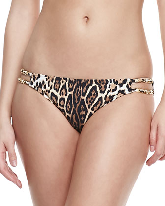 Luxe Leopard-Print Underwire Swim Top & Double-Strap Bottom