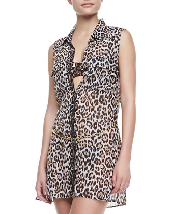 Luxe?? Leopard-Print Coverup Dress