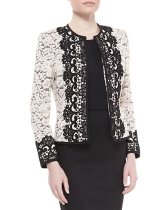 Two-Tone Lace Jacket, Sleeveless Jersey Tank & Crepe Pencil Skirt