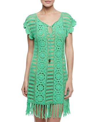 Banana Leaf Crochet Coverup, Green Leaf