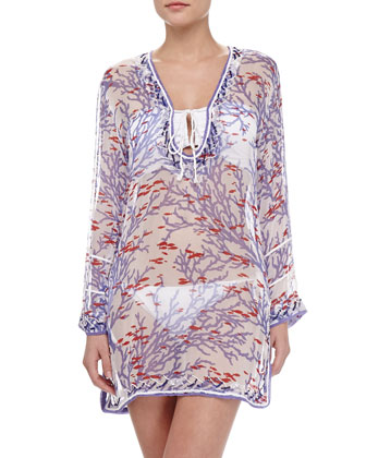 Candy Reef Long-Sleeve Tunic Coverup
