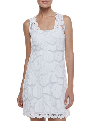 Kissing Fish Sleeveless Coverup Dress & Formfitting Camisole Slip, White