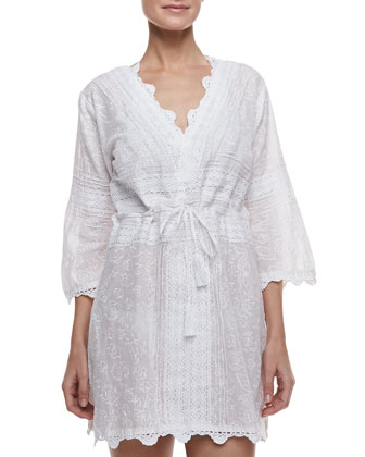 Flower Embroidered V-Neck Coverup Dress