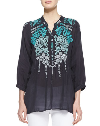 Brussels Embroidered Georgette Blouse & Blue Springs Printed Scarf, Women's