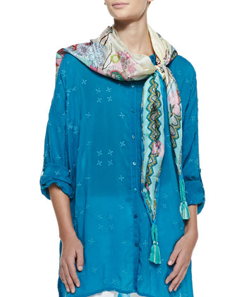 Oversized Boyfriend Embroidered Silk Tunic & Kia Print Silk Square Scarf