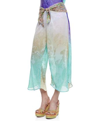 Uma Drape-Back Printed One-Piece & Knot-Front Coverup Pants