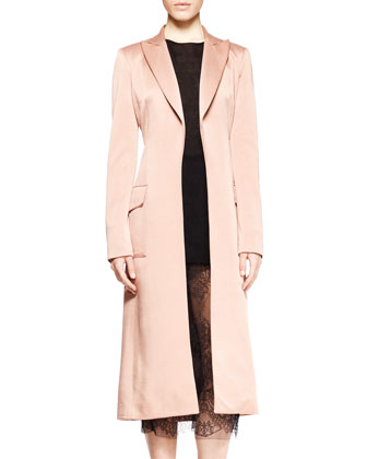 Incollato Satin Long Coat, Cotton-Cashmere Pullover & Lace Midi Pencil Skirt
