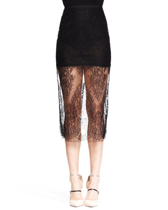 Sheer Lace Midi Pencil Skirt