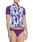 UPF 50 Boho Ikat-Print Zip Swim Shirt