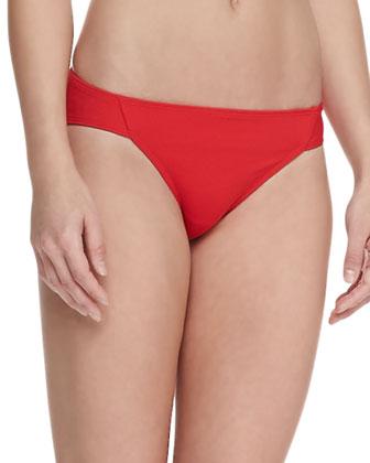 UPF 50 Classic Side-Ruched Bikini Bottom, Red