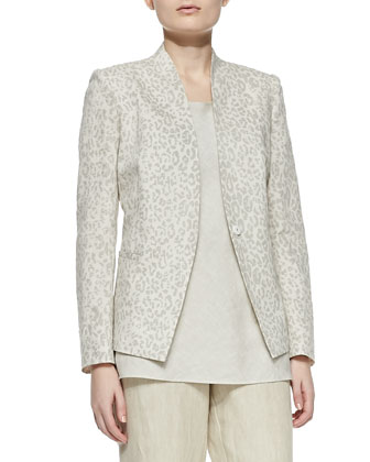 Animal-Print Linen-Cotton Jacket, Long Linen Flare Tank & Linen ...