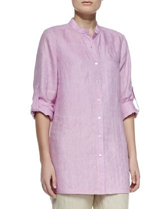 Long-Sleeve Linen Top