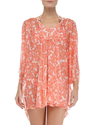Coral Reef Silk Caftan Coverup