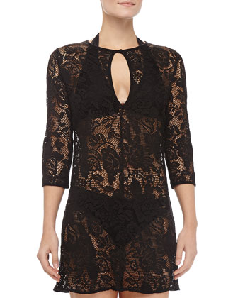 Black Fresia Lace Coverup