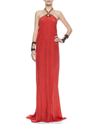 Mira Halter Dress with Beaded Neckline, Cherry Zigzag