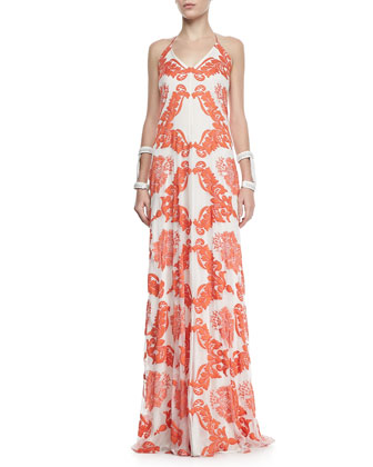 Isla Embroidered Silk Chiffon Maxi Dress