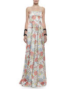 Malene Floral-Printed Strapless Ball Gown