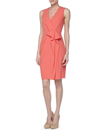 Sleeveless Draped-Front Dress, Coral