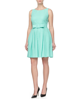 Pique Belted Full-Skirt Dress, Aqua