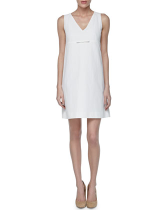 Pique V-Neck A-line Dress