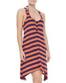 Marcel Striped Arched-Hem Coverup Dress