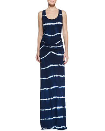 Hamptons Tie-Dye Stripe Maxi Dress, Navy