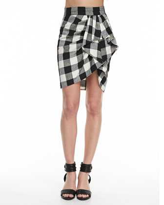 Plaid Silk-Blend Bra Top & Sarong Skirt