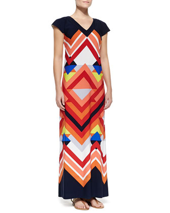 Printed Cap-Sleeve Maxi Dress
