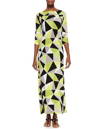 Geometric-Print Jersey Maxi Dress
