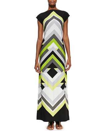 Printed Luxury-Jersey Maxi Dress, Women's