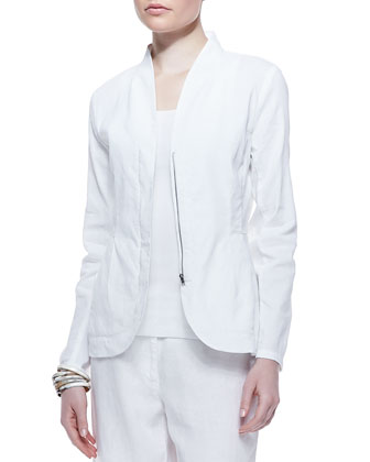 Linen-Blend Shawl-Collar Peplum Jacket, Women's