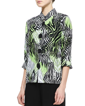 Margarita Zebra Linen Jacket & Wide-Leg Stretch Pants, Women's