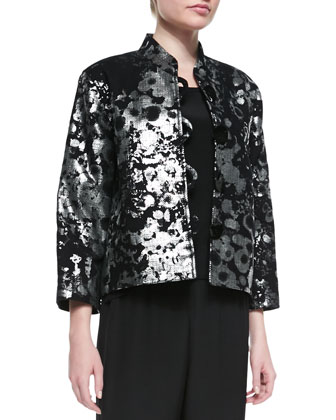 Silver Splash Boxy Jacket, Silk Crepe Tank & Silver Splash Boxy Jacket ...
