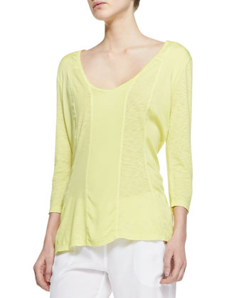 Suki Slub 3/4-Sleeve Top