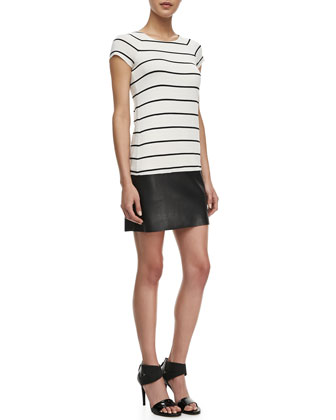 D.J. Baba Striped Short Sleeve Dress, Black & Alabaster